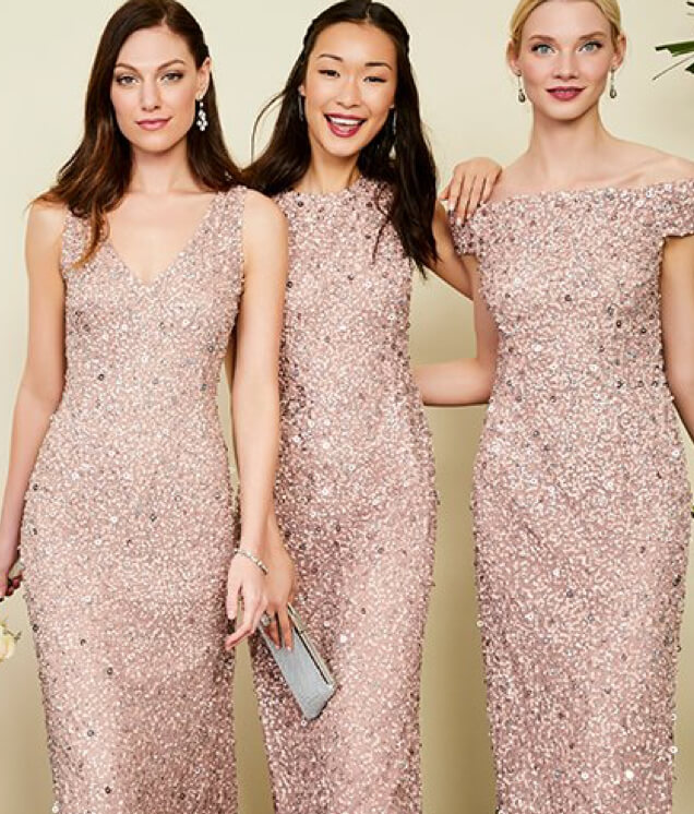 Bridesmaids in sparkling dresses