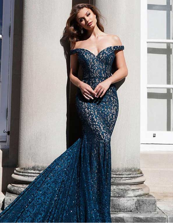 Brunette in Jovani dress